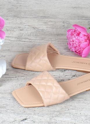 Шлепанцы женские бежевые винтаж прошитые базовые маленький каблук