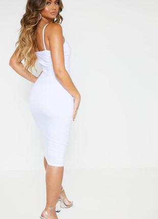Белое платье на бретельках 🔥missguided🔥 платье миди с вырезом на груди