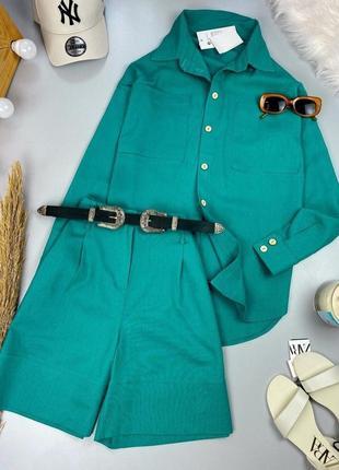 Женский костюм лён ,рубашка и шорты-бермуды