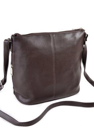 Коричневая женская сумка на молнии матовая через плечо