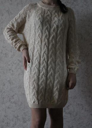 Блестящее вязаное платье