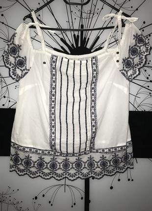Красивая белая вышиванка f&f размер 12 100% cotton