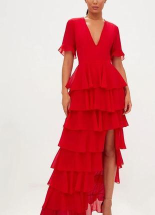 Шифоновое длинное платье 🔥prettylittlething🔥 платье макси с рюшами. вечернее платье с воланами