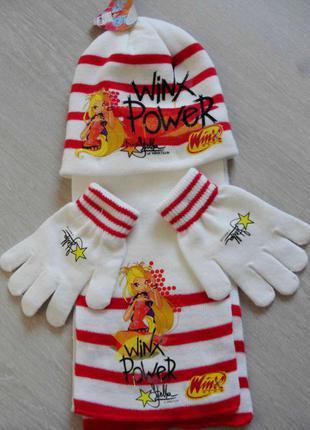 Набор шапка шарф перчатки на 2-3 года