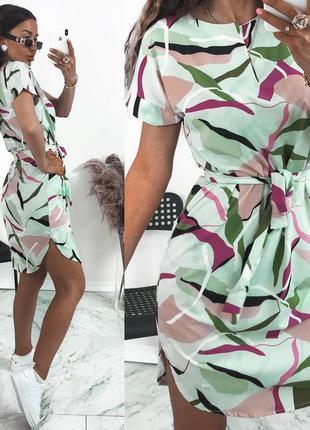 Платье женское мини короткое свободное легкое с поясом лето