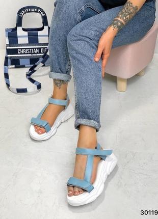 Босоножки сандали кожа замш на липучках