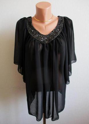 Шифоновая блузка c бисером krisp, подойдет беременным