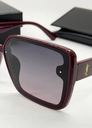 Ysl женские солнцезащитные очки поляризованные с градиентом бордовые квадраты