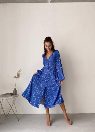 Шикарное синее платье  миди