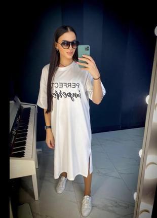 🔥стильное🔥 платье футболка хлопок принт турция1 фото