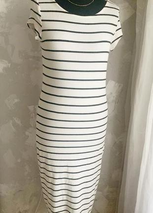 Летнее полосатое платье трикотаж h&m