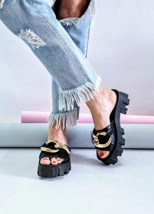 Кожаные шлёпанцы р36-40 сандалии шлепки тапки сланцы шльопанці сланці капці сандалі