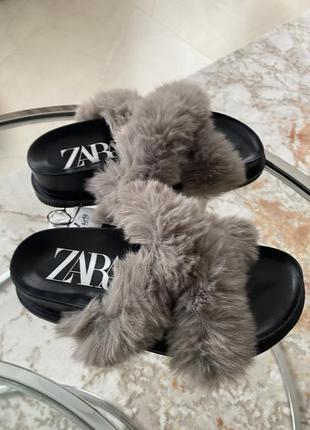 Очень классные и удобные шлёпанцы меховые zara