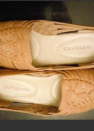 Летние туфли натуральная кожа снаружи и внутри от softspots comfortiva, cша