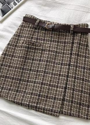Твидовая юбка твид юбка в клетку клетчая юбка тренд 2021 на запах zara h&m