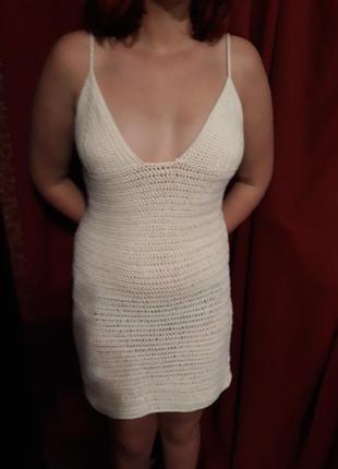 Пляжное вязаное платье, сарафан, пляжная туника