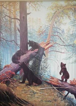 Картина маслом на двп, утро в сосновом лесу, шишкина