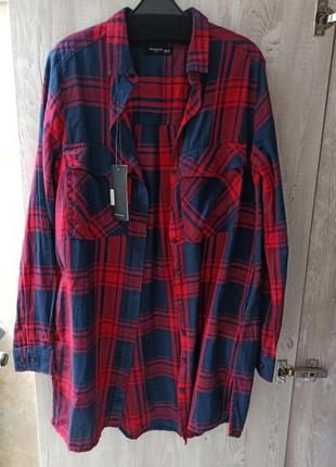 Рубашка клетка, удлиненная рубашка reserved