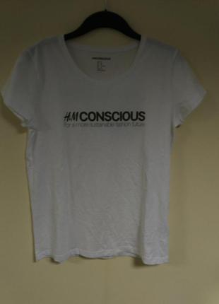 Хлопковая футболка h&m conscious exclusive / м