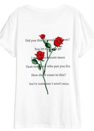 Сногшибательная футболка с принтом розы divided by h&m made in bangladesh