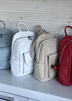 Рюкзак кожаный женский бежевый с карманами, италия, натуральная кожа