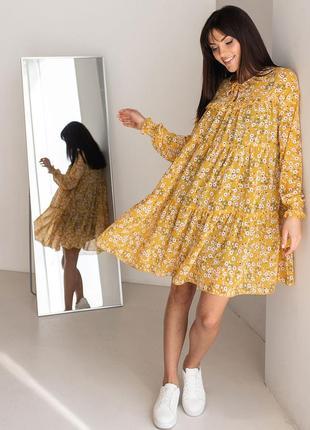 Свободное шифоное платье в цветочек цветок цветочный принт