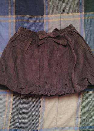 Вельветовая юбка на девочку 4 года серая оригинал