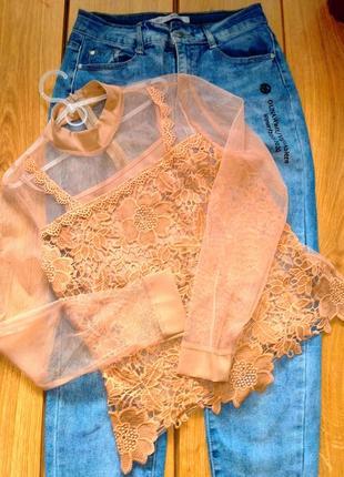 Стильная и модная блуза блузка рубашка кружево из органзы и дорогого гипюра