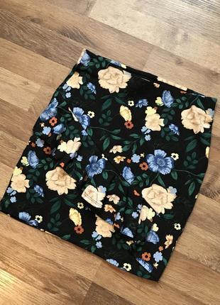 Яскрава літня міні спідниця calliope, яркая летняя мини юбка, розмір s, цветочная юбка, рюш, волан