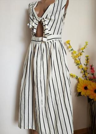 Платье миди в полоску (нат ткань )