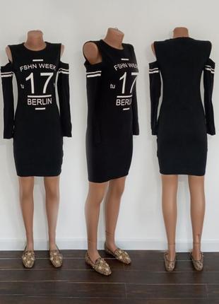 Классное черное платье с принтом. турция.  fb sister. размер m.