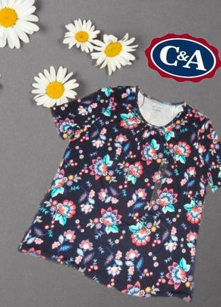 🌷🌷 c&a canda пог 59 летняя туника удлин. футболка вискоза женская цветочный принт🌷🌷
