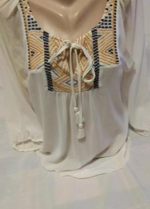 Шикарная шифоновая блузка вышиванка