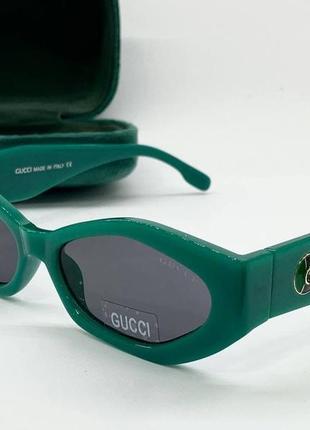 Gucci очки женские солнцезащитные зеленые многогранники