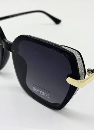 Jimmy choo очки женские солнцезащитные черная геометрия с серебристыми шорами
