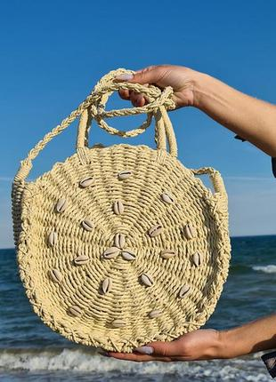 Сумка летняя, пляжная, солома, соломенная, соломеная, літо