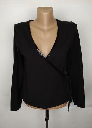 Блуза трикотажная красивая на запах с паетками laura ashley s