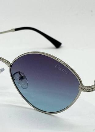 Cartier очки женские солнцезащитные ромбы с серо-бирюзовым градиентом
