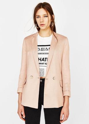 Стильный двубортный льняной пиджак zara, h&m