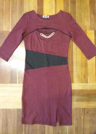 Трикотажное платье бордового цвета