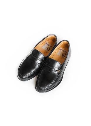 Туфли лоферы noelsa натуральная кожа черные на лето