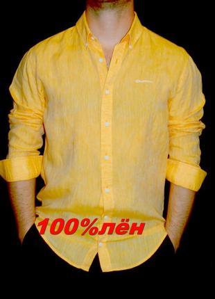 Dahlin шикарная рубашка горчично - оранжевого цвета лён - xl - l