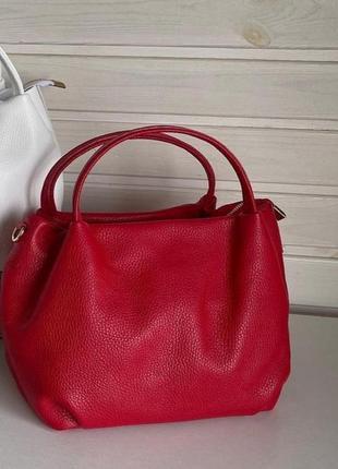 Сумка кожаная vera pelle, италия , красная, сумка жіноча шкіряна