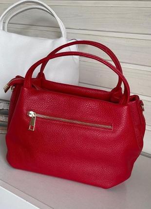 Сумка кожаная vera pelle, италия , красная, сумка жіноча шкіряна2 фото