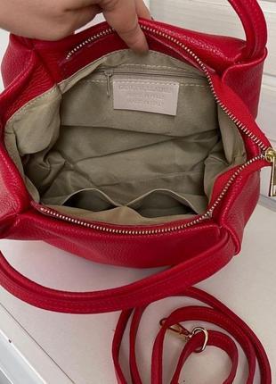 Сумка кожаная vera pelle, италия , красная, сумка жіноча шкіряна3 фото