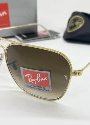 Ray ban очки женские солнцезащитные коричневые авиаторы с линзами минеральное стекло