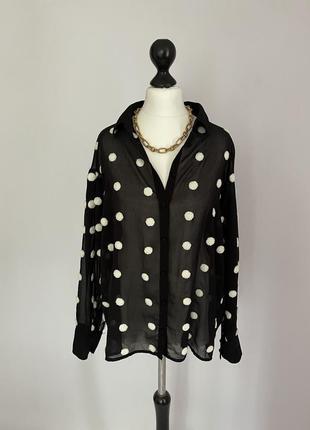 Блузка чёрная zara с текстильным горохом