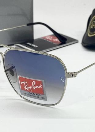Ray ban очки женские солнцезащитные голубые авиаторы с линзами минеральное стекло