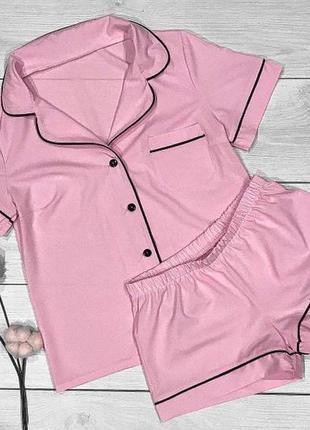 Яркая женская рубашка с шортами. комплект домашней одежды.