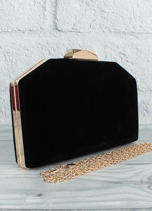 Велюровый клатч rose heart 22119 черный, сумочка на цепочке